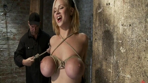 Big tits and busty Katie Morgan hogtied