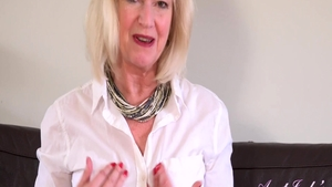Shaved granny Sapphire Louise goes in for fingering