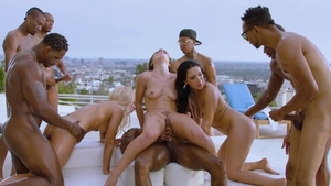 Interracial sex outside accompanied by gorgeous bitch