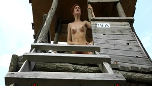 Teen chick Anny Aurora pussy fucking outdoors