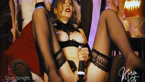 Skinny vampire craving sex with toys in stockings