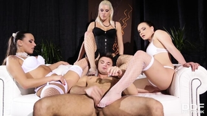 Threesome together with charming pornstar