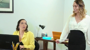 Lesbians threesome in office