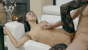 Real sex shaved brunette Cadence Lux