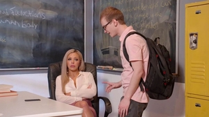Rough sex with fake tits cougar Nina Elle in school