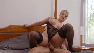 Blonde Ryan Keely in lingerie pounding