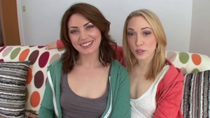 Pornstar Sarah Shevon together with Lily Labeau double-blowjob