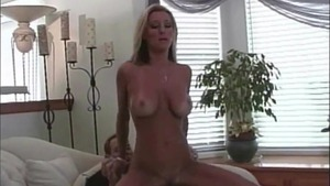 Tanned blonde got her pussy pounded