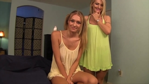 Natasha Starr wearing dress stroking