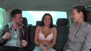 Mea Melone in tandem with Wendy Moon group sex in the car