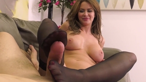 Mature Emily Addison helps with anal pov sex in her lingerie