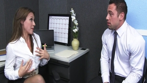 Busty Callie Calypso hard dick sucking in office