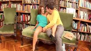 Sylvia Laurent pussy fucking in the library