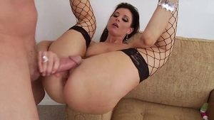 Anal gaping accompanied by pornstar in fishnets