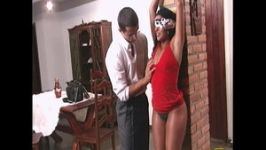 Erotic blindfolded accompanied by hot chick