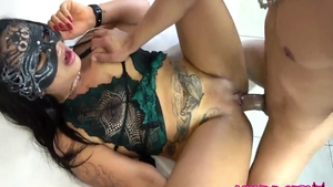 Latina brunette Sexy Cora in mask erotic fucked all the way
