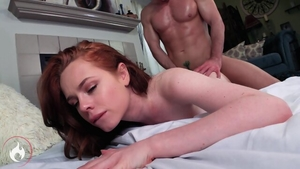 Fucking hard in company with redhead