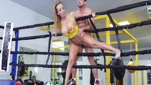 Brunette Johnny Castle cheating in the gym