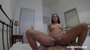 Brunette Nicole Love POV bends to get fucked