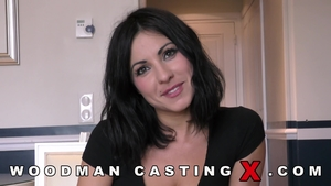 Ines Lenvin in sexy stockings POV threesome at castings
