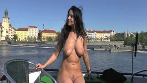 Busty & Naked babe erotic flashing outdoors solo