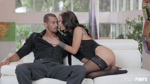Brunette Evelin Stone in tight stockings cumshot