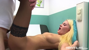 Very hot blonde haired in sexy stockings fetish threesome