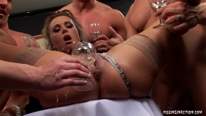 Cumshot together with blonde in sexy stockings in HD