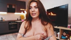 Curvy shaved russian brunette striptease on live cam in HD