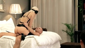 Blanche Bradburry in sexy lingerie blindfolded