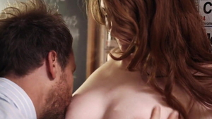 Cock sucking together with american redhead Abbey Rain
