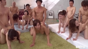 Big boobs japanese brunette uncensored group sex at the party