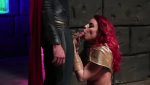 Britney Amber along with Axel Braun cosplay balls licking