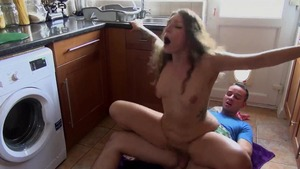 Tattooed stepsister pussy fucking in the kitchen