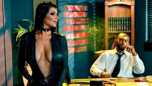 Perfect body mature Romi Rain cosplay sucking dick on sofa