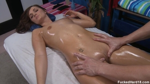 Hard rough sex next to super hot babe Lily Carter on the table