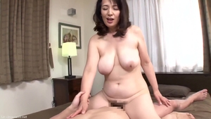 Ramming hard along with hairy japanese stepmom