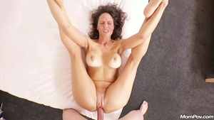 Cum on face accompanied by mature
