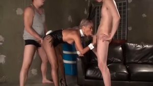 Sex with toys next to hairy asian bitch in stockings in HD