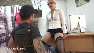 Strapon in office amongst hottest mistress in sexy stockings