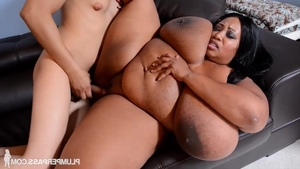 Raw nailing along with big boobs ebony MILF Cotton Candi in HD