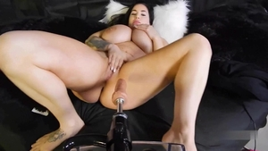 Chubby amateur playing with toys