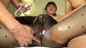 Asian wearing pantyhose massage