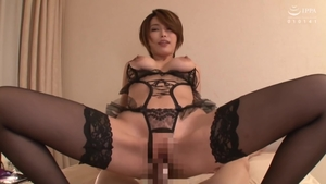 With large boobs asian MILF in her lingerie