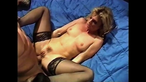 Super cute blonde haired in tight stockings double penetration