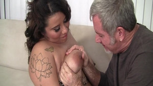 Busty brunette really likes cumshot