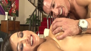 Big boobs babe Lisa Ann rough handjob massage