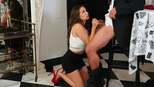 Sucking dick in company with very hot brunette Cassidy Klein