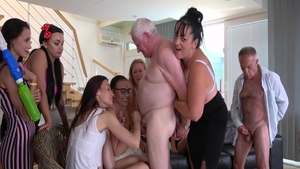 Group sex along with young MILF