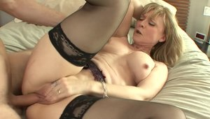 Granny Nina Hartley hardcore rides a hard dick HD